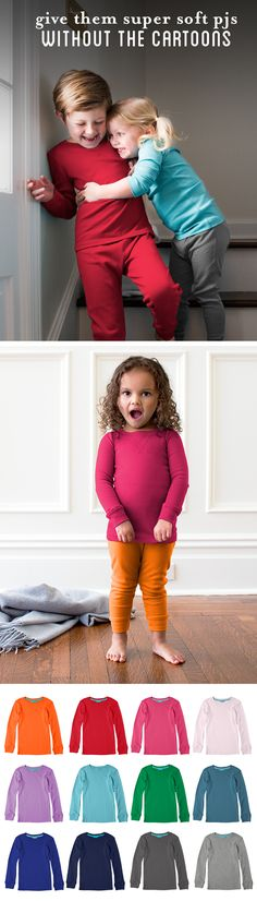 Special Holiday Offer: FREE PJs with $50 purchase through 12/31/15, while supplies last. Our kids PJs are made of soft pima cotton, in vibrant solid colors that you can mix and match, in sizes 2-12. Like everything we offer, they're free of characters, sayings and logos. And we carry them season after season, year after year. Welcome to Primary!