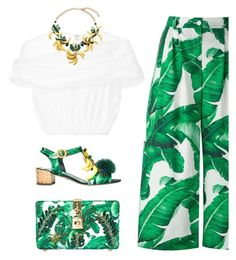 """Banana Leaf-Print"" by junglover ❤ liked on Polyvore featuring Dolce&Gabbana and Delpozo"