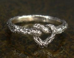 Solid sterling silver heart ring has gnarly botanical vine design tied into a heart design. Suitable as an infinity or forever ring, friendship, or mother-daughter ring set. Ring is solid sterling silver, about - wide. Friendship Promise Rings, Heart Promise Rings, Heart Ring, Heart Knot, Heart Bracelet, Bling Bling, Mother Daughter Rings, Best Friend Rings, Plus Size Rings