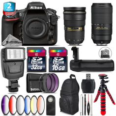Nikon D810 DSLR  AFS 24-70mm 2.8G  AFP 70-300mm E  Slave Falsh - 48GB Kit