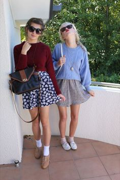 a skater skirt, cropped sweater, and ankle socks look amazing with oxford shoes