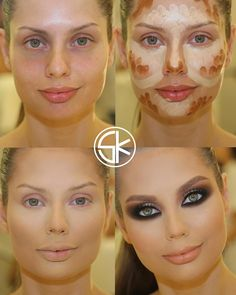 countoring make up 8 Mime Makeup, Skin Makeup, Face Contouring, Contouring And Highlighting, Before And After Contouring, Make Up Tricks, How To Make, Makeup Tips, Beauty Makeup