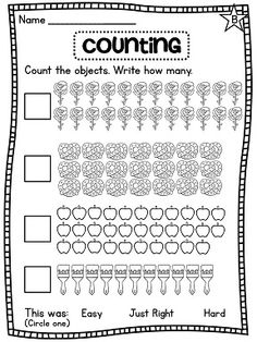 Counting differentiated worksheets