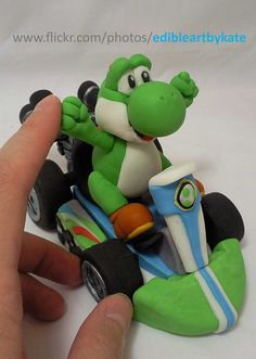 yoshi kart cake topper close up