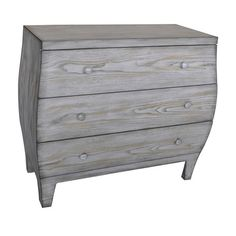 This Plymouth 3 Drawer Light Driftwood Curved Chest measures 31 1/2 inches high, 36 inches long and 16 inches wide. It has a weathered gray washed driftwood finish and wooden drawer pulls.