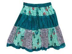 Designer Lace Work Cotton Mid Length Blue Tiered Skirt #Mogul Interior @ http://www.amazon.com/dp/B00KQFZJRI