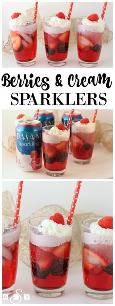 Berries & Cream Sparklers - Butter With A Side of Bread #SparklingHolidays #ad