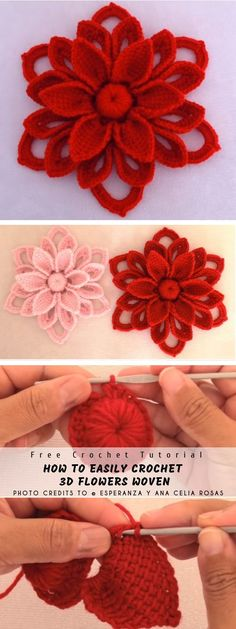 How to Easy Crochet Flowers Woven In Irish Crochet - step by step tutorial - you will know how to make this crochet flower. The full article with the link to the free tutorial is below. DESIGNED by Esperanza y Ana Celia Rosas PROJE Crochet Puff Flower, Crochet Flower Patterns, Crochet Motif, Crochet Flowers, Irish Crochet, Diy Yarn Flowers, Crochet Designs, Crochet Amigurumi Free Patterns, Christmas Crochet Patterns