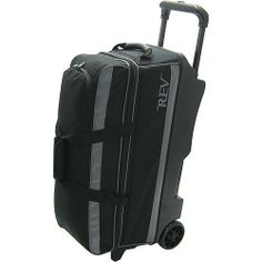 "Rev Triple Roller Black/Steel Bowling Bag by Rev. $79.99. 3 ball bowling bag with wheels. 600D nylon material. Retractable handle. Embroidered logo. Metal hardware. Large pocket for accessories. Stores and protects shoes. 5"" Enclosed Wheels. Dimensions (L: 30.5"") (H: 16"") (W: 11.5""). 1 year warranty. Save 38%!"