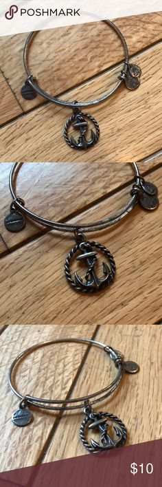Alex and Ani anchor bracelet Silver Alex and Ani bracelet with anchor charm. In used condition, some wear, see photos. Alex and Ani Jewelry Bracelets