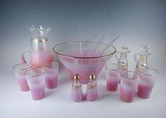 Vintage Mid Century Modern Pink Sunrise Glass  Blendo