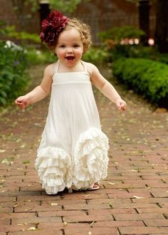Baby flower girl outfit. Add color with a flower piece in the toddler's hair. Super cute!