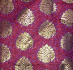 Indian silk brocade fabric in light and dark  purple with gold; bench fabric