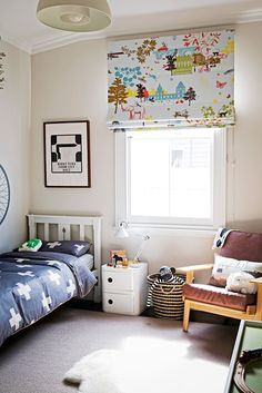 """The blind in Papillon Et Copains fabric by [Christian Fischbacher](http://www.fischbacher.com/en/?utm_campaign=supplier/ target=""""_blank"""") was the first thing Claire got for Thomas's room."""