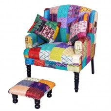Comfortable and stylish looking love seat in multi colored patterns with a matching footrest! Perfect for any room! Footrest, Color Patterns, Love Seat, Armchair, Sofa, Stylish, Furniture, Home Decor, Sofa Chair