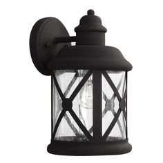 Sea Gull Lighting 8621401-12 Lakeview 1 Light 12 inch Black Outdoor Wall Sconce in Clear Seeded Glass