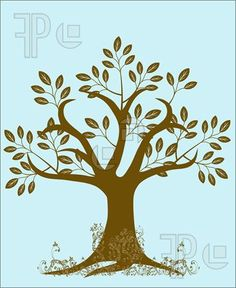 Picture of Abstract Tree Silhouette with Leaves and Vines on Blue Background