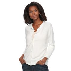 Women's Croft & Barrow® Ribbed-Trim Cardigan, Size: Medium, White