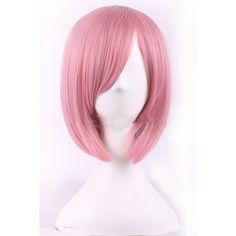 Pink Inclined Bang Harajuku Bob Short Straight Cosplay Wig (€19) ❤ liked on Polyvore featuring beauty products, haircare, hair styling tools, hair and pink