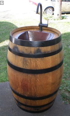 DIY - cool for garden - Turn a wine barrel into an outdoor sink - www.instructables.com
