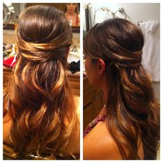 half up formal style for long hair with loose curls