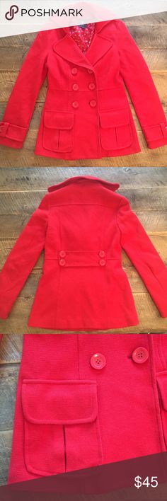 🆕 Holiday Red Peacoat NWOT Never been worn. New without tags. Perfect red color for winter and holidays! ❤️🎉😍 Forever 21 Jackets & Coats Pea Coats