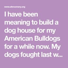 I have been meaning to build a dog house for my American Bulldogs for a while now. My dogs fought last week and now I have decided to separate them permanently once and for all. After much research