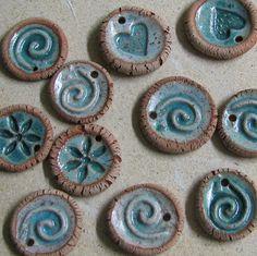 Unique handmade ceramics by TikaCeramics Ceramic Pendant or Ornament or Essential Oil Diffuser - set Metal Clay Jewelry, Ceramic Jewelry, Ceramic Beads, Ceramic Clay, Clay Beads, Polymer Clay Jewelry, Ceramic Pottery, Ceramics Projects, Clay Projects
