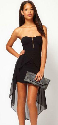 Black Blends Women Fashion Strapless Sweetheart Zipper Asymmetrical Slim Ladies Sexy Dress