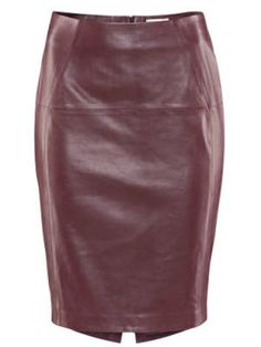 Amazing leather pencil skirt from H #burgundy