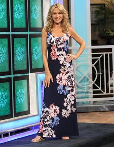 TOMMY BAHAMA: Conia Rose long dress w/abstract white, blue, orange, green floral print on navy background, scoop neckline, sleeveless, tank style   Vanna White's dresses   Wheel of Fortune