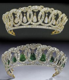 Grand Duchess Vladimir's diamond circles, now owned by the British royal family. Surely one of the most iconic and beautiful tiaras. I always thought I preferred it with the pearls, but I saw a video of the Queen wearing it with the emeralds and it looked utterly amazing with the flash of vivid green amongst the diamonds.