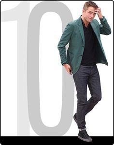 A revista GQ elegeu os 10 mais bem vestidos de Cannes e Robert Pattinson ficou com o 10º lugar do top 10 com seu visual para o photocall de The Rover. O ator, chamou a atenção vestindo um blazer verde, ótima opção para ser usado de maneira casual, com jeans, camisa pólo e tênis baixo.