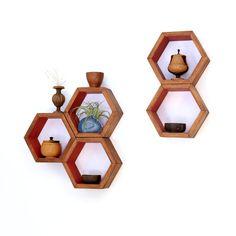 Wood Shelves Wall Shelving Geometric Hexagon by HaaseHandcraft