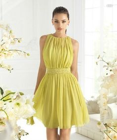 Custom Made New Arrivals Sheath Halter Mini Yellow Sashes Pleat Beading Chiffon 2013 New Designer Evening Party dress A12 $79.00