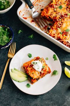 This sweet potato black bean enchilada bake is layered with tortillas, cheese and a homemade enchilada sauce. Vegetarian, gluten-free and delicious!