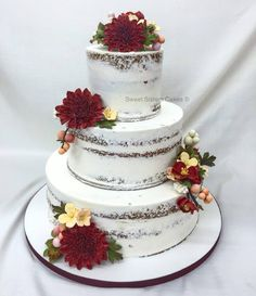 "Sweet Sisters ""naked"" cake! Love seeing some cake under that icing. #desserts #cakes #icing #weddingcakes #SweetSisters"