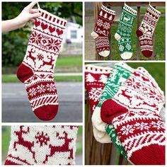 Knitting Patterns Christmas Corrugated ribbing, fair isle and Scandivanian designs of your choice. Select your own motifs (chart. Knitted Christmas Stocking Patterns, Unique Christmas Stockings, Christmas Knitting, Crochet Christmas Stockings, Simple Christmas, Motif Fair Isle, Fair Isle Chart, Knitting Charts, Knitting Socks