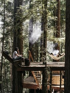 Photo 2 of 19 in This DIY Couple Craft a Tiny Cabin in the Santa Cruz… Cabins In The Woods, House In The Woods, Cabins In The Mountains, Mountain Cabins, Mountain Houses, Tree Deck, Tree House Deck, Couple Crafts, Tree House Designs