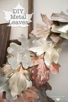 DIY metal leaves made from soda cans. A rustic farmhouse style project. Easy tutorial of the website. | Country Design Style | countrydesignstyle.com