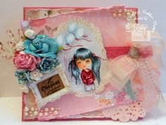 Ruby Montes, NEW DollHouse LDRS Rubber stamp , It's a Celebration, Copics,      Handmade card, and that's all she wrote, http://rubyonlywrote.blogspot.com/