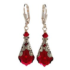 Ruby Red Baroque Vintage Filigree Earrings with Crystal from Swarovski  #HisJewelsCreations #DropDangle