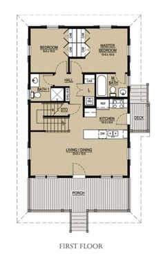 Beach Style House Plan - 3 Beds 3.00 Baths 1413 Sq/Ft Plan #536-1 Floor Plan - Main Floor Plan - Houseplans.com