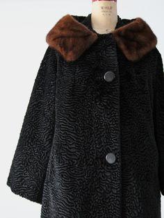 1960s faux fur swing coat