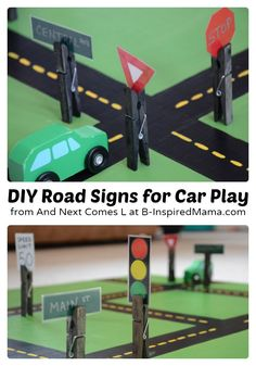 Easy DIY Toys - Fun Road Signs at B-Inspired Mama - goes with black felt road strips. Make and include a couple of miniature cars for a cute boy gift. Be sure to include a bag so it travels well. Projects For Kids, Diy For Kids, Crafts For Kids, Play Kitchen Diy, Toddler Activities, Activities For Kids, Block Area, Transportation Theme, Small World Play