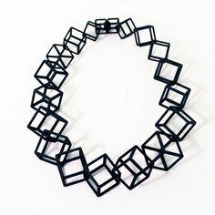 Jet Mous: Black Connected Cubes Necklace, $185