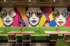 Pizza Fresh Co by Vie Studio, Sydney – Australia Art Restaurant, Restaurant Interior Design, Mural Wall Art, Graffiti Wall, Coffee Shop Counter, Cafe Counter, Visual Merchandising, Pizza Branding, Barber Shop Decor