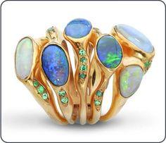 Ring | Cristina Rotondaro. 'eye Of Shiva'. 18K Yellow Gold, Opals, And Paraiba Tourmalines - Click for More...