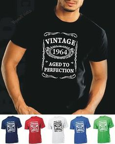 VINTAGE 1964 AGED TO PERFECTION T-shirt 50th BIRTHDAY Present Gift 50 years old