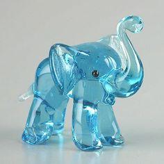 Blue Elephant Glass Figurine